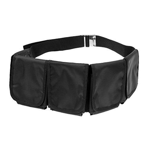 MagiDeal Tauchgewichte Gürtel Bleigürtel Tauchgürtel mit Taschen, Schwarz mit Edelstahl Gürtelschnalle, verstellbar - 5 Taschen