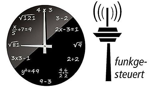 FUNK Wanduhr Mathe FunkUhr Uhr Glas Mathematik Mathe-Formeln Student