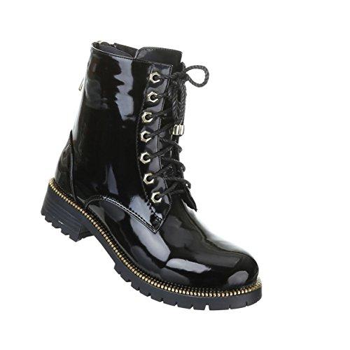 Damen Schuhe Gothic Stiefelette Boots Punk Stiefel mit Nieten Nr 12 Schwarz