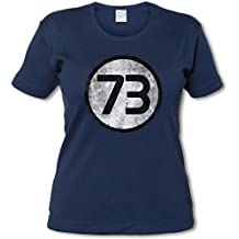 BLACK THE BIG BANG NUMBER 73 THEORY VINTAGE III LOGO MUJER GIRLIE WOMAN T-SHIRT – numero Sheldon Number Nr. Nombre Cooper Tamaños S - 5XL