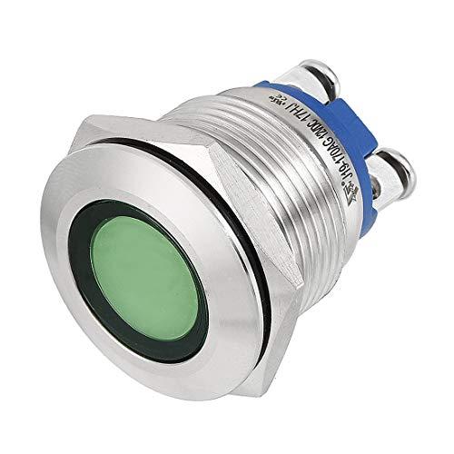 ZCHXD LED Indicator Light DC 12V 19mm Green Metal Shell Pilot Custom Dash Signal Lamp Flat Head -