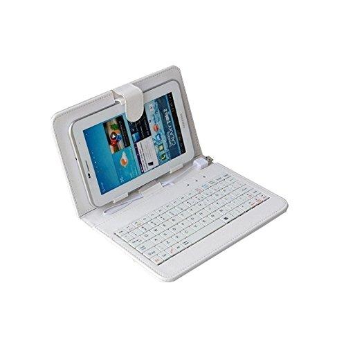 AlpenTab COVWK7 Kunstleder Tastatur Hülle mit 4 Punkt Halterung und Magnetverschluss für 17,8 cm (7 Zoll) Tablet weiß/blau