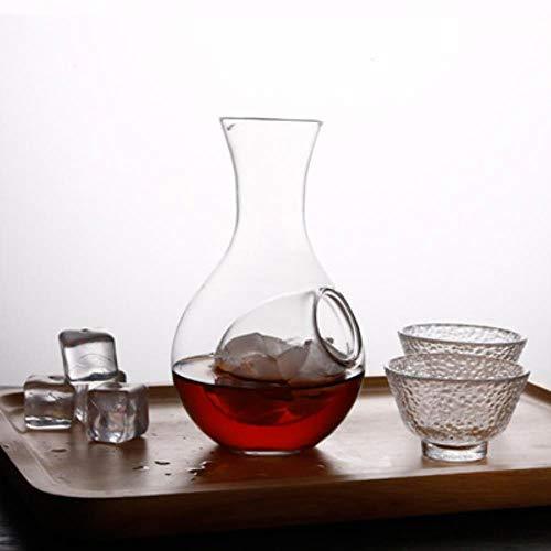 FeiKe Kreative Japanischen Stil Glas Weinflasche Daumenloch Sake Glas Eiskanne Hamsternest Kühlraum Weinausgießer Dekanter Set, Flasche und Zwei Tassen