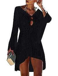 ZIYYOOHY Elegant Crochet Stricken Bikini Cover Up Boho Strandponcho Strandkleid Häkelkleid