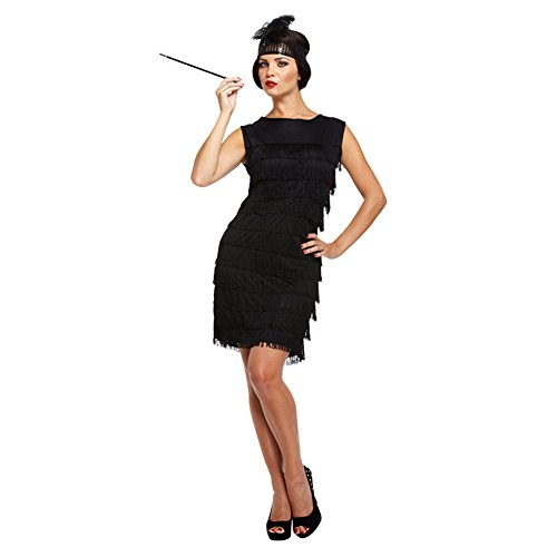 Mädchen Flapper Kostüm - Damen Sexy Schwarz 1920s Fransen Flapper Mädchen Charleston Kostüm Kleid Outfit STD &Übergröße - Schwarz, STD (UK 10-14)