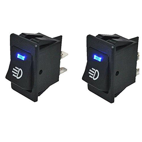 12v Kfz-schalter (HOTSYSTEM 12V 35A Auto KFZ Schalter für Nebelscheinwerfer Scheinwerfer Wippschalter Ein-/Ausschalter Blau LED beleuchtet Wechsel Switch Kippenschalter 4 Polig)