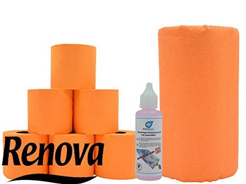 Farbiges Toilettenpapier & XXL Küchenrolle Renova Klopapier Set in orange und Glas Reiniger Test von KaiserRein