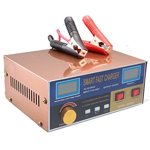 YTBLF Caricabatteria per Auto 12V / 24V, Protezione Intelligente per Riparazione impulsi, Adatto per Batteria ad Acqua capacità 60AH-200AH, Batteria a Secco, Batteria al Piombo