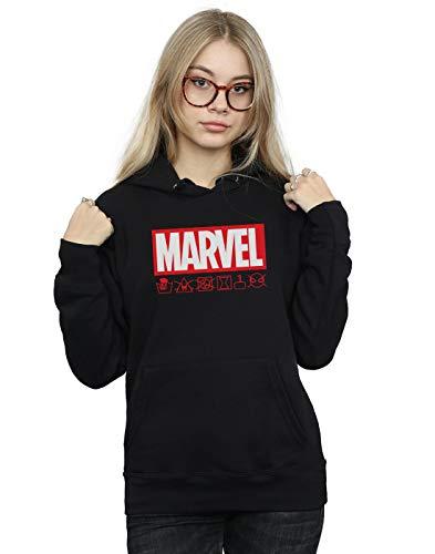 Marvel Damen Logo Wash Care Kapuzenpullover Schwarz Medium - Logo Kleidungsstück