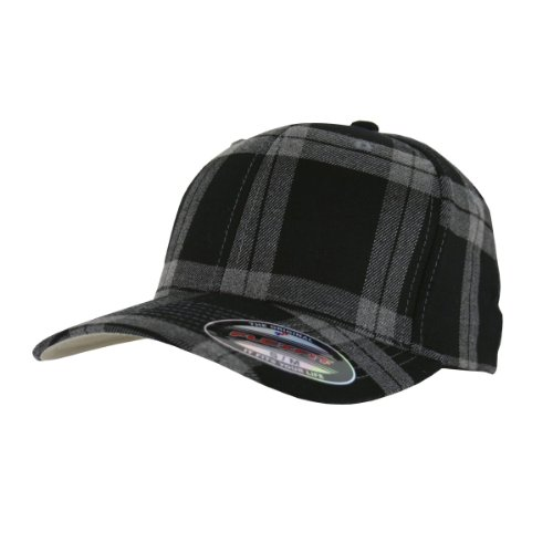 Flexfit Karo Cap Tartan Plaid black grey - S/M