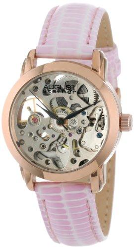 august steiner women's as8033rg skeleton automatic strap watch