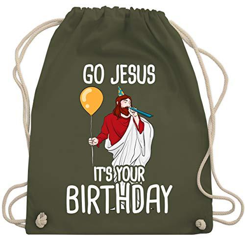 Weihnachten & Silvester - Go Jesus it\'s your Birthday - Unisize - Olivgrün - WM110 - Turnbeutel & Gym Bag