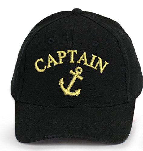 4sold Kapitänsmütze Cap Captain Ancient Mariner, Captain Cabin Boy Crew First Mate Yachting Baseballmütze Inschrift Schriftzug Schwarz Weiß rot Weiss Army Military Baseballmütze Security (Anchor Captain)
