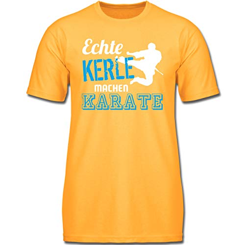 Sport Kind - Echte Kerle Machen Karate - 128 (7-8 Jahre) - Gelb - F130K - Jungen Kinder T-Shirt