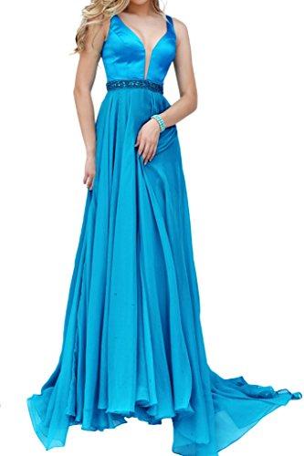 Charmant Damen Sexy Tief V-ausschnitt Satin Abendkleider Promkleider Partykleider Bodenlang A-linie Neu Blau