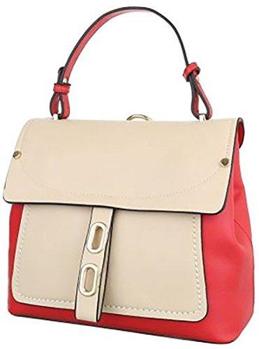 Zaino borsa bianco-nero rosso-beige alt manico12cm alt:22cm lun:25cm larg:12cm bretelle-tracolla50cm Rosso