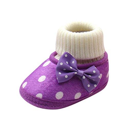 dchen Neugeborenen Warme Kleinkind Bowknot Heiße Weiche Sohle Stiefel Babyschuhe (12, lila) (Heiße Clown)