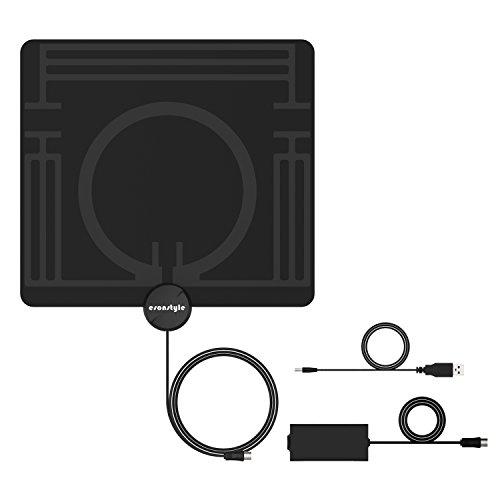 TV Antenne, Esonstyle HD 1080P Digitale DVB-T/DVB-T2 Antenne mit 4m/13ft High Performance Kabel, 50 Miles-Range& Abnehmbarem Signalverstärker, Ultra dünn Antenne (0,8mm) für VHF/UHF