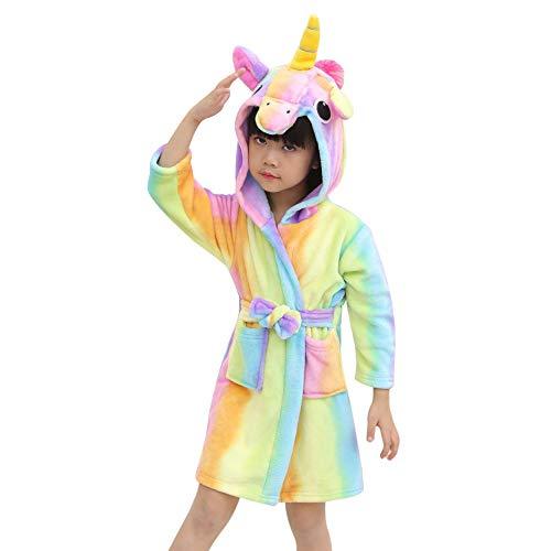 F.lashes Kinder Einhorn Bademantel Flanell Mit Kapuze Süss Schlafanzug Cosplay Kostüme Tiere Ankleiden Unisex