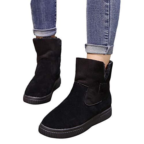OSYARD Damen Snow Booties Flache Kurze St,Winter Plüsch St Slip-On Frauen Einfarbig Wildleder Shoes Creepers Schuhe Ankle Boots Warm Schnee St (225/36, Schwarz)