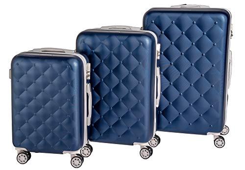 Set Trolley Bagaglio a mano Enrico Coveri Moving, Valigie in ABS rigide e leggere con 4 Ruote ideale per cabina e stiva Omologato Viaggi Low Cost - BERLINO (Blu e Bianco, Set 3 Valigie)