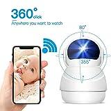 Telecamera Sorveglianza Wifi 1080P, Videosorveglianza IP wireless con Visione Notturna, Infrarossi Rilevamento Movimento, Audio Bidirezionale, 350° Pan/Tilt/Zoom, per Baby/Elder/Pet monitor, Compatibile con iOS e Android e PC - Topgio