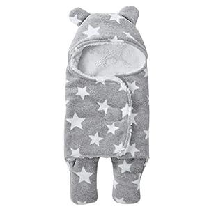 Saco de dormir de coralina para recién nacidos con capucha y pies; cálido y grueso, para otoño e invierno, de 65x75cm, para niño y niña gris gris Talla:65*75CM