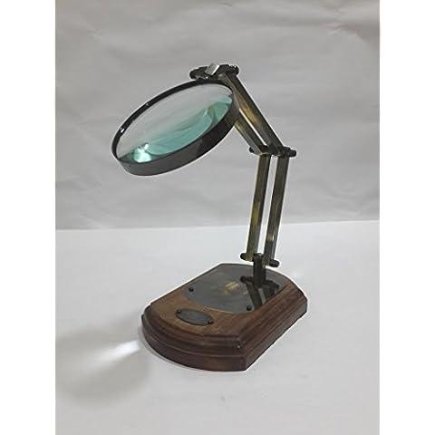 Thor Instruments.Co da tavolo in stile nautico, in stile vittoriano, con lente di ingrandimento in vetro, motivo nautico, in ottone antico con lente