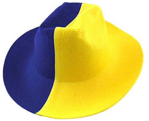 Cowboy Hut Länder Fußball WM Fasching Party Farbe Blau-Gelb (Gelbe Party Hüte)