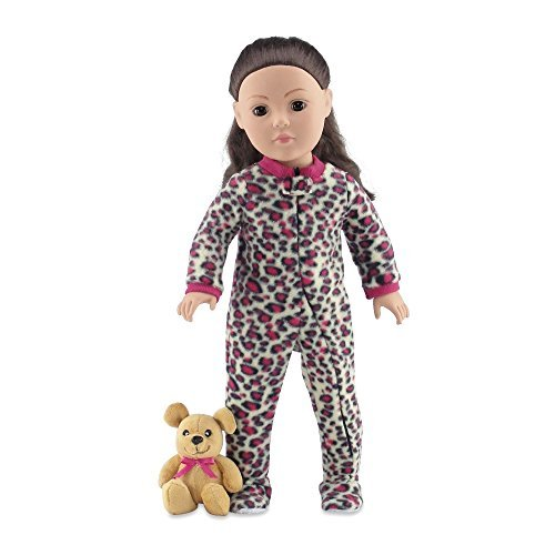 18 Inch Doll Clothes | Cozy Footed Pink Cheetah Print Pajama Outfit Onesie with Teddy Bear | Fits American Girl Dolls
