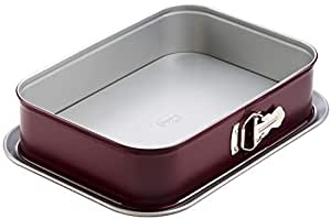 Dr. Oetker Rechteck-Springform mit zweifarbiger Antihaftbeschichtung, eckiges Kuchenblech für Kuchen und Torten, rechteckige Backform, Menge: 1 Stück