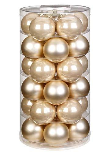Decpero - palline di vetro per albero di natale, diametro: 40 mm, 30 pezzi, colore champagne