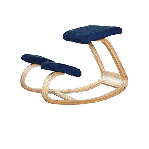 Sedia di funzione di correzione della spina dorsale in legno massello, sedia a dondolo in bianco, sedia inginocchiata, sedia da apprendimento per bambini, sedia per bambini ( Colore : Il blu scuro. )