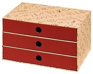 Nips Eco Line 32 x 24.5 x 18cm Charly Drawer Box A4 - vanilla/bordeaux