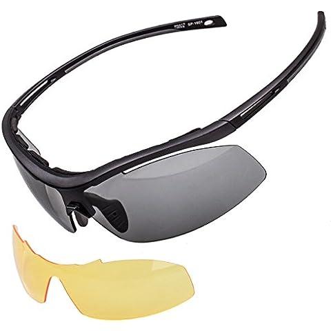 Meetlocks Integradoras fotocromáticos gafas de sol deportivas, marco TR90, 2 lentes intercambiables, incluyendo 1 que cambia de color Lense y 1 Lense anti-vaho, para todos los deportes al aire