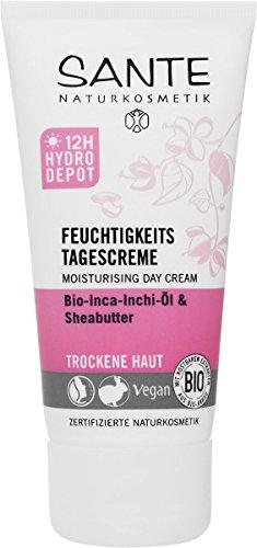 SANTE Naturkosmetik Feuchtigkeits Tagescreme, Gesichtscreme 12H Hydro Depot, Trockene Haut, Intensive Feuchtigkeit, Glättet spürbar, Vegan, 50g