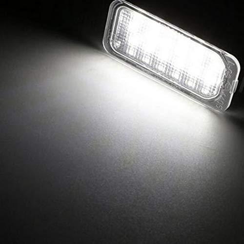 VIGORFLYRUN PARTS LTD 2pcs Luci Targa a LED Luce Lampada Posteriore 18LED SMD 6000k Xeno Bianco Canbus Error Free per P-eugeot 106 1007 207 307 308 3008 406 407 508 806 C-ITROEN C2 C3 C4 C5 C6 DS3