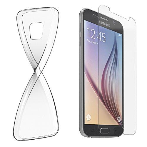 Samsung Galaxy Note Hülle - EAZY CASE Ultra Slim Cover Handyhülle - dünne Schutzhülle aus Silikon in Transparent Set (Glas und Hülle)