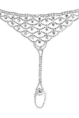 Gnzoe Schmuck Damen Fußkettchen Fußkette Zehenkette Zehenring Knöchelkette mit Zirkonia Kette Silber für Braut