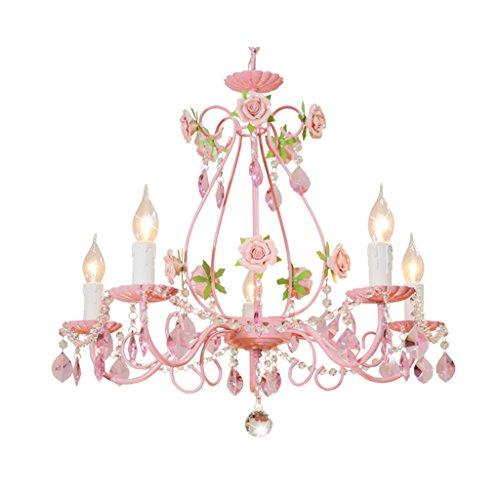 TangMengYun Europäische Kerze Kristall Kronleuchter, Persönlichkeit dekorative Anhänger Deckenleuchte, Kinderzimmer Schlafzimmer Wohnzimmer Restaurant Rosa Hängelampe Pendelleuchte Kristall-kerze