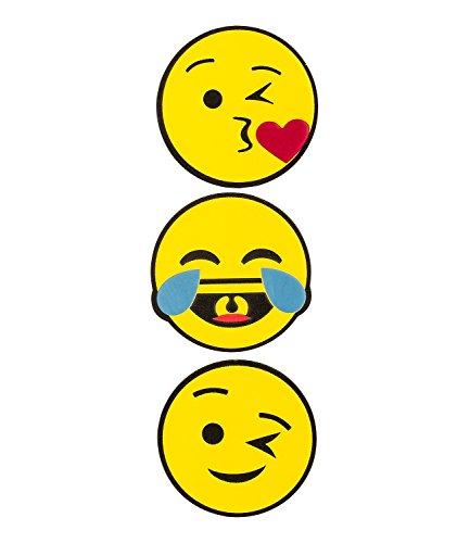 """SIX \""""Fun 3er Set Trend weiche Sticker Aufkleber für Taschen Koffer, Smileys mit verschiedenen Gesichtern Emoji Emoticon, 5cm Weihnachtsges (461-135)"""