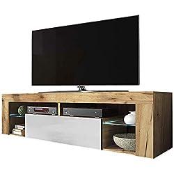 Selsey Hugo Meuble Bas de TV avec rangements, casier à Porte Rabattable et éclairage LED Aspect Bois