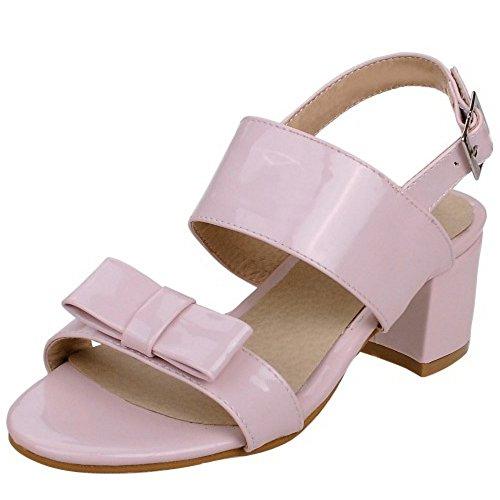 TAOFFEN Damen Gemutlich Slingback Schnalle Bogen Sommer Blockabsatz Sandalen Pink