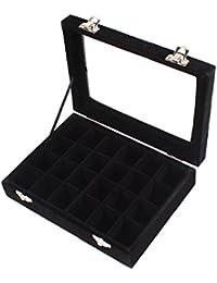 JuanYa 24 rejillas de vidrio de terciopelo anillo pendientes caja de la joyería de la exhibición del organizador bandeja titular de almacenamiento caso (negro)