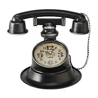 Home Collection Maison Ameublement Décoration Accessoires Intérieur Horloge de Table en Forme de Téléphone Vintage Noir Fer