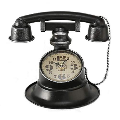 Home Collection Casa Arredamento Decorazione Interni Accessori Orologio da Tavolo a Forma di Telefono Vintage Ferro Nero