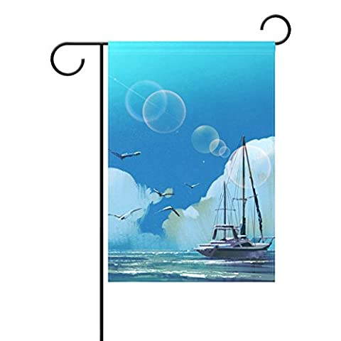 Duble Sided Segelboot in the Sea Summer Sky Light, mit Big Wolken und Möwen Polyester HAUS/Garten Flagge Banner 12x 18/71,1x 101,6cm für Hochzeit Party alle Wetter, Polyester, blau, 28x40