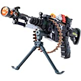 V SHINE Musical Army Style Long Toy Gun with Lights and Sound (Military Green, 56cm)
