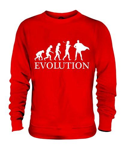 Evolution Kostüm Batman - Candymix Superheld Evolution des Menschen Unisex Herren Damen Sweatshirt, Größe X-Large, Farbe Rot