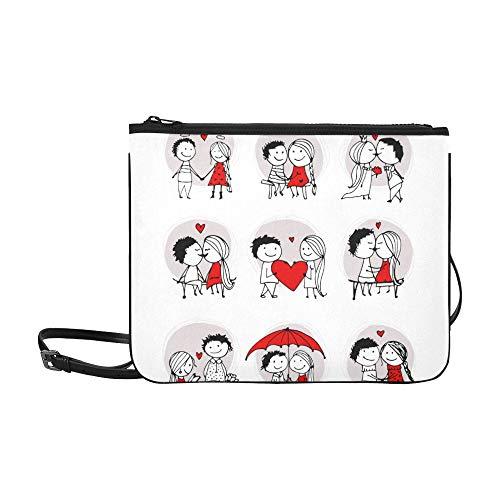 SHAOKAO Paar in Liebe zusammen Valentine Pattern benutzerdefinierte hochwertige Nylon dünne Clutch Bag Cross-Body Bag Umhängetasche